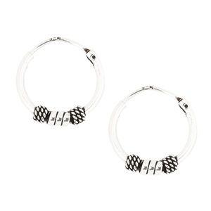 NEW Sterling Silver Braided Bead Hoop Earrings NWT